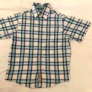 Arizona plaid button shirt boys size 8 blue/white